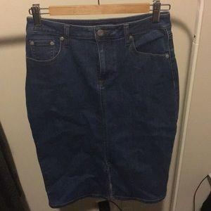 Denim skirt with front slit.